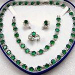 Jewelry green CRYSTAL Necklace Bracelet <b>Earring</b> +box