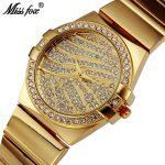MISSFOX Miss Fox Casual Quartz Watch Women 2018 Gold Wrist Watches For Women <b>Silver</b> Waterproof Ladies Watch <b>Bracelet</b> Cloc