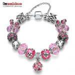 LZESHINE Antique Silver Original Women Glass Charm Bracelet & Bangle Fit Charm Beads Bracelet Party <b>Jewelry</b>