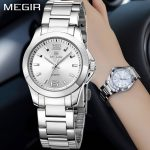 MEGIR Fashion Luxury Women's Watches Ladies <b>Silver</b> Gold <b>Bracelet</b> For Women Steel Quartz Wrist Watch Women relogio feminino saat