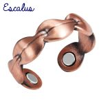Escalus Ladies <b>Antique</b> Copper Leave Plant Magnetic Trendy Ring Resizable Female Magnets Women <b>Jewelry</b> Charm Finger Wear