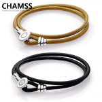 CHAMSS Summer New 2018 Pandoras 925 <b>Silver</b> Charm Original LOGO Golden Tan Black Leather <b>Bracelet</b>, Clear Jewelry for Woman