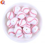 Cordial Design 20MM 100Pcs/Lot Printing Carved White Acrylic Baseball Beads For Decoration <b>Jewelry</b> CDBD-601178