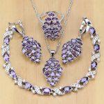 Purple Zircon White CZ 925 Sterling <b>Silver</b> Jewelry Sets For Women Earrings/Pendant/Necklace/Rings/<b>Bracelet</b>
