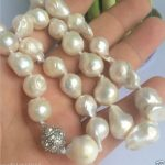 NEW 10-16mm SOUTH SEA WHITE BAROQUE PEARL NECKLACE 18″