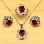 Natural Red Aarnet White Zircon Women 925 Sterling Silver <b>Jewelry</b> Sets Earrings/Pendant/Necklace/Rings Free Boite Cadeau T045