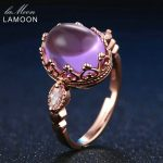 LAMOON 3.5ct 10x8mm 100% Natural Amethyst 925 Sterling <b>Silver</b> <b>Jewelry</b> Rose Gold Purple Ring For Gift Girlfriend LMRI022