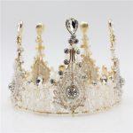 Luxurious Vintage Handmade Clear <b>Wedding</b> Bridal Queen Tiara Crown Bride Hair <b>Jewelry</b> Accessories Top Round Women Prom Diadem