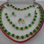 real Women's Wedding green gem stone necklace bracelet earring ring set silver-<b>jewelry</b>