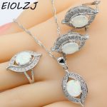 925 Sterling Silver White Fire Opal <b>Jewelry</b> Sets For Women Anniversary Trendy Choker <b>Necklace</b> Ring Clip Earrings Free Gift Box