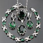 <b>Wedding</b> Green Zircon Silver 925 <b>Jewelry</b> Sets Women White Stones Earrings Bracelets Pendants&Necklaces Rings Set Gift Box