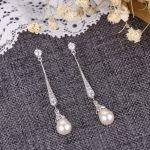 Bella Fashion Elegant Rhombus Bridal Earrings Cubic Zircon Simulated Pearl Long Dangle Earrings For <b>Wedding</b> Women Party <b>Jewelry</b>