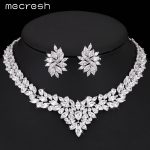 Mecresh Gorgeous Flower Bridal <b>Jewelry</b> Sets Silver Color Cubic Zirconia Earrings Necklace Sets Wedding Parure Bijoux Femme TL333
