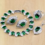 Hyperbole 925 <b>Silver</b> Jewelry Green Created Emerald White CZ Jewelry Sets For Women Earrings/Pendant/Necklace/Rings/<b>Bracelet</b>