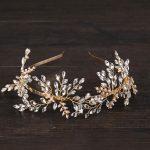 Vintage Crystal Leaf Bridal tiara Wedding Hairband Headpiece Hair ornament <b>Handmade</b> Gold Color Hair <b>Jewelry</b> Accessories FD661