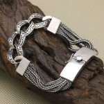 Vintage Solid <b>Sterling</b> <b>Silver</b> 925 Multi Strand Weave Bracelet Men Women Thick Link Band Handmade Antique <b>Silver</b> 925 <b>Jewelry</b> Gift