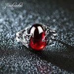 JIASHUNTAI Vintage 925 Sterling Silver Rings Gourd Shape Retro Thai Silver Red Stone <b>Jewelry</b> For Women