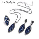 K'S Gadgets Fashion Blue Red Crystal Jewelry Sets for Women Antique <b>Silver</b> Color <b>Necklace</b> Earring Ring Jewellery Set