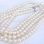 New fashion 8MM AAA white Seawater Pearl Shell Necklace Gifts For Girl Women Fashion <b>Jewelry</b> <b>Making</b> Design Hand Made 54″ W0030