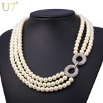 U7 Simulated Pearl <b>Jewelry</b> Necklace Women Fashion Wholesale Trendy Rhinestone <b>Wedding</b> Choker Necklaces N451
