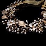 <b>Handmade</b> Gold Leaves Wedding Bridal Tiara Hair <b>Jewelry</b> Accessories Crystal Flower Vine Bride Tiara Head Chain Hair Ornaments