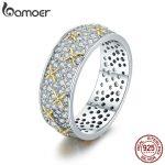 BAMOER Real 100% 925 Sterling Silver Luminous CZ Firefly Lightning Bug Finger Rings for Women Cocktail Engagement <b>Jewelry</b> SCR241