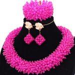 Bling Fine <b>Jewelry</b> Sets Fuchsia Hot Pink Nigerian Indian Bridal Necklace Set <b>Handmade</b> High Quality Dubai Jewellery Set Free Ship