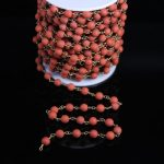 6mm Matte Round Bead Rosary Chains,Natural Red Jasper Stone Gems Beads With Brass Wire Wrapped Chain <b>Necklace</b> <b>Jewelry</b> Findings
