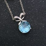 Natural blue topaz stone Necklace natural gemstone Pendant Necklace S925 <b>silver</b> trendy big round bowknot women party <b>Jewelry</b>