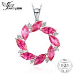 JewelryPalace Wreath 15ct Created Ruby Pendant <b>Necklace</b> Soild 925 Sterling <b>Silver</b> 45cm Box Chain <b>Necklace</b> Jewelry For Women
