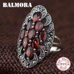 BALMORA 100% Real 925 Sterling Silver Red Garnet Retro & Elegant Rings for Women Lover Party Wedding <b>Jewelry</b> Anillos SLS20042