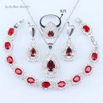 L&B <b>silver</b> 925 Jewelry Sets Red created Garnet White Crystal Wedding Jewelry Sets <b>Bracelets</b>/Pendant/Earrings/Rings