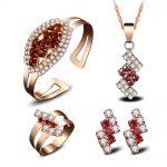 Lovely Women's Wedding lady's fine Original short AAA Crystal chain Pendant Necklace Earring Ring Bracelet set silver-<b>jewelry</b>