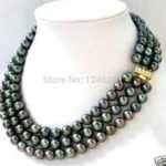 Fashion 3 row 7-8MM Black Akoya Pearl Necklace Rope Chain Beads <b>Jewelry</b> <b>Making</b> Natural Stone 17-19inch(Minimum Order1)