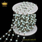 3x4mm Light Blue Glass Faceted Rondelle Abacus Glass Beaded Chains Plated Bronze Wire Wrapped Chains <b>Necklace</b> ZJ-90
