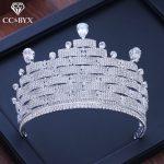 CC big crown tiara luxury high quality full cz stone engagement <b>wedding</b> hair accessories for bride pageant fine <b>jewelry</b> XY218