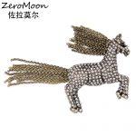 <b>Antique</b> Style Crystal Rhinestone Horse Brooch Pin Metal Chain Tassel Animal Unisex Garment Accessory Vintage Fashion <b>Jewelry</b>