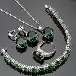 New Year Silver 925 Bridal Girl <b>Jewelry</b> Sets For Women <b>Wedding</b> Jewelery Earrings Set With White CZ Green Stones Free Gift Box