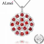 Almei 7.2ct Long Big Flower 32mm*32mm Garnet 925 Sterling <b>Silver</b> Red Gemstone Pendant Fine Jewelry for Women with Box CN052