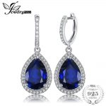 JewelryPalace Luxury Pear Cut 12.4ct Blue Created Sapphires Dangle Earrings Solid 925 <b>Sterling</b> <b>Silver</b> <b>Jewelry</b> Fashion Women Gift