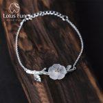 Lotus Fun Real 925 Sterling <b>Silver</b> Natural Crystal Handmade Fine Jewelry Creative Flower in the Rain Design <b>Bracelet</b> for Women