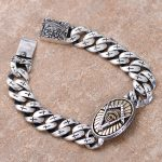 S925 Sterling <b>Silver</b> Eye Of Horus Men <b>Bracelet</b> & Bangle Punk Rock Gold Vintage Cross Male Pattern Phoenix Pattern <b>Bracelet</b>