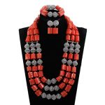 High Quality Coral and <b>Silver</b> Women Bridal Jewelry Set 25inches Coral Nigerian Wedding Necklace Set 2018 CNR039