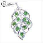 Fashion <b>silver</b> leaf pendant for party 9pcs 3 mm *4 mm natural tsavorite pendant solid 925 <b>silver</b> Tsavorite <b>jewelry</b> gift for girl