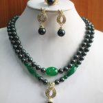Prett Lovely Women's Wedding 8mm 2 Rows Black Shell Pearl Necklace Earring Ring <b>Jewelry</b> Set >AAA GP Bridal wide mujer moda