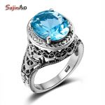 Szjinao Alibaba-Express Oval 2.3ct Blue Topaz <b>Handmade</b> Ring Solitaire 925 Sterling Silver <b>Jewelry</b> Anniversary Rings for Women
