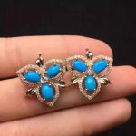 natural blue turquoise stone <b>earrings</b> 925 <b>silver</b> Natural gemstone <b>earring</b> women personality Fashion Clover <b>earrings</b> for party