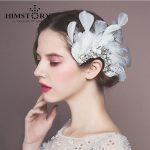HIMSTORY European New Design white Feather Peacock Wedding Headpiece <b>Handmade</b> Rhinestone Bridal Hair Accessories <b>Jewelry</b>