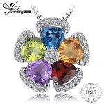 JewelryPalace 2.6ct Natural Blue Topaz Amethyst Citrine Garnet Peridot Pendants 925 Sterling <b>Silver</b> <b>Jewelry</b> Not Include a Chain