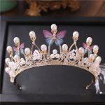 Bride <b>Wedding</b> Headdress Butterfly Gold Color Crown Sweet Princess Hair Accessories Banquet Hair Crown for Women Hair <b>Jewelry</b>